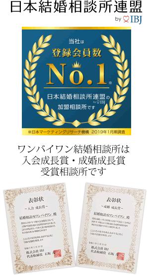 IBJk日本最大級会員数 日本結婚相談所連盟加盟 ワンバイワン世田谷区結婚相談所は入会者成長賞、成婚成長賞受賞結婚相談所です